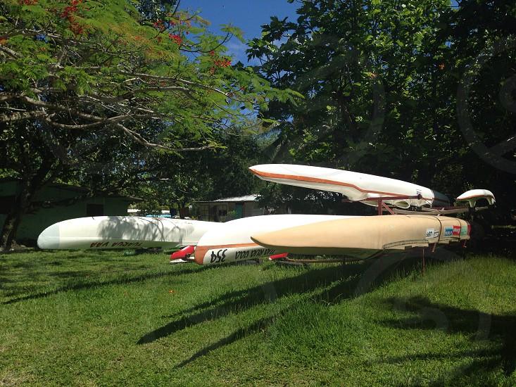 Canoes on rack photo