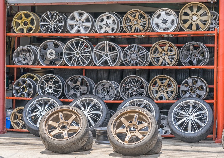 Wheels and tires shop. photo