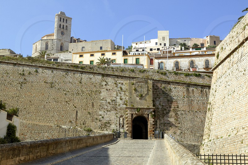 Ibiza from castle balearic islands in Spain. Mediterranean touristic vacation town photo
