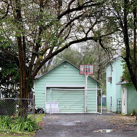Garage basketball hoop small-town  photo