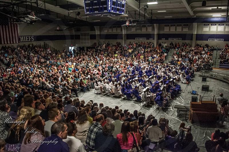 Wide shot from a high school graduation. photo