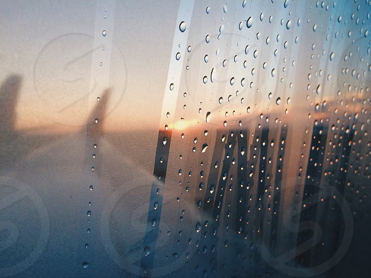 Morning flight dew window airplane travel photo