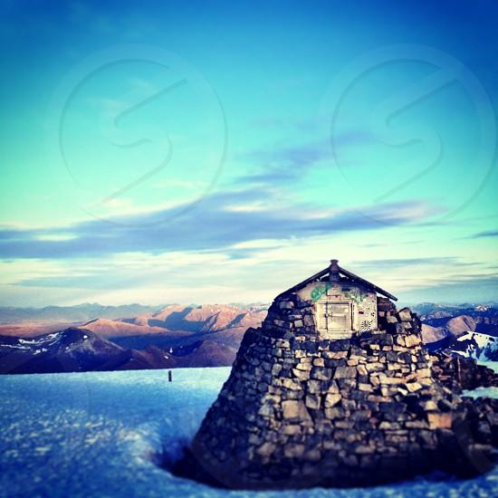 on top Ben Nevis in Scotland UK photo