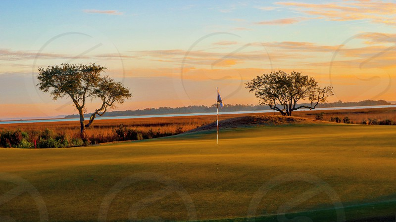 Golf low country flag flag stick pin marsh landscape water views live oaks  photo