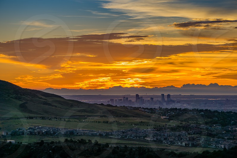A stunning sunrise over Denver Colorado photo