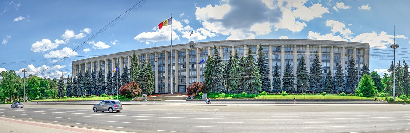 Chisinau Moldova – 06.28.2019. Government House in the center of Chisinau capital of Moldova on a sunny summer day photo