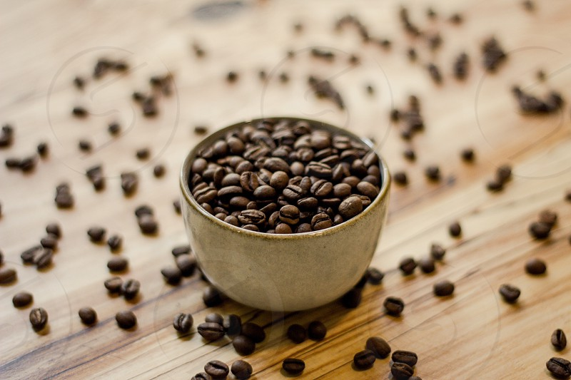 Coffee beans on table and in cup photo