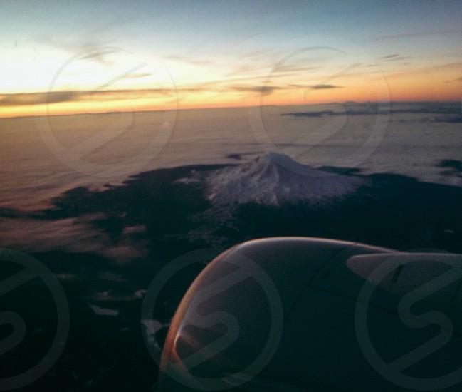 Travel Mount Rainier Seattle Aerial plane window seat photo