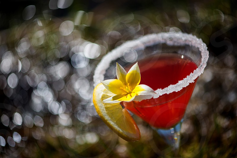 Beautiful summer coctail margarita cinco de mayomixed drink colorful background photo