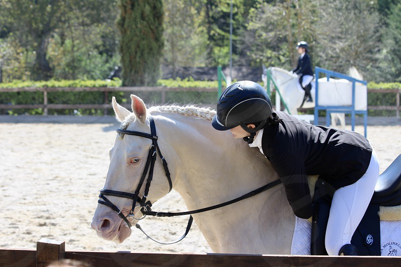 Young lady speaking with her horse doing equestrian activity Italy photo