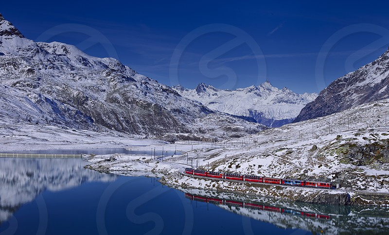 The Red Train in Engadina photo