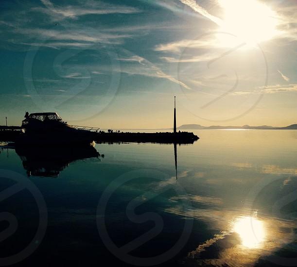 Reflection on Balaton lake Hungary. photo