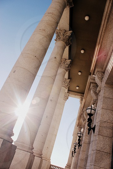 Utah state building sun flare sunset neo classical pillars structure lights fancy photo