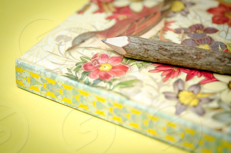 notebook pencil yellow background writing writers natural wood flowers birds gold photo