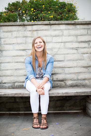 young woman laughing and enjoying life! photo