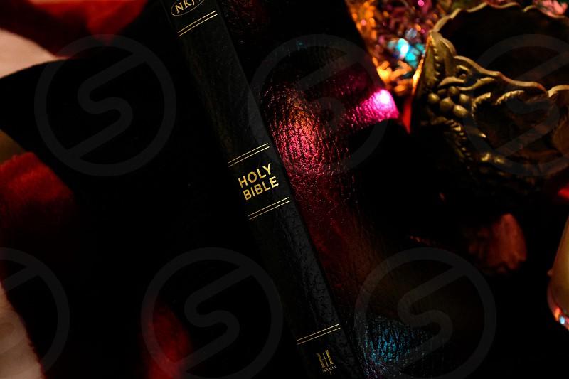 Bible Christmas Christmas tree Christmas lights Christian photo