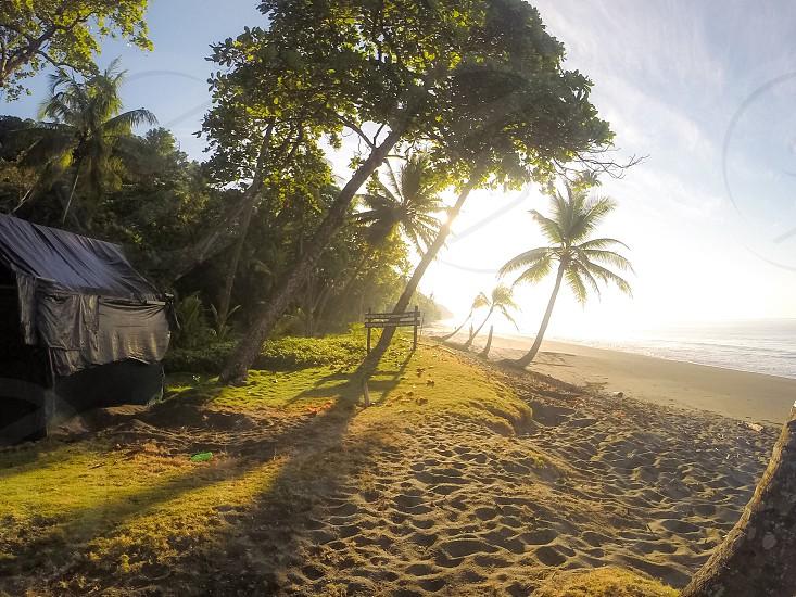 Sunrise at Osa Conservation's Turtle hatchery on Piro Beach Costa Rica. January 2015.  photo