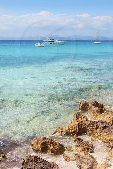Illetes view from Savina port Formentera balearic islands turquoise sea photo