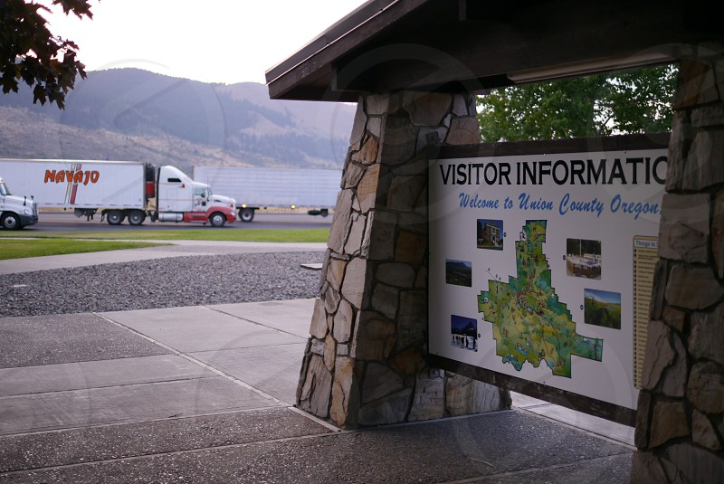 Comfortable and relaxing travel Stop at rest area photo