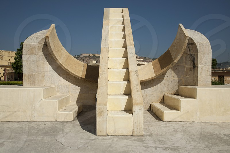 Jantar Mantar is a collection of architectural astronomical instruments. The Jaipur observatory is the largest and best preserved. It has been described as an expression of the astronomical skills and cosmological concepts of the court of a scholarly prince at the end of the Mughal period.   photo