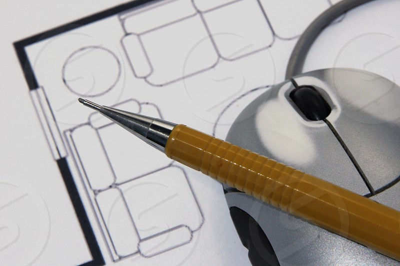 Design Pencil Mouse Paper Layout Creative Planning photo