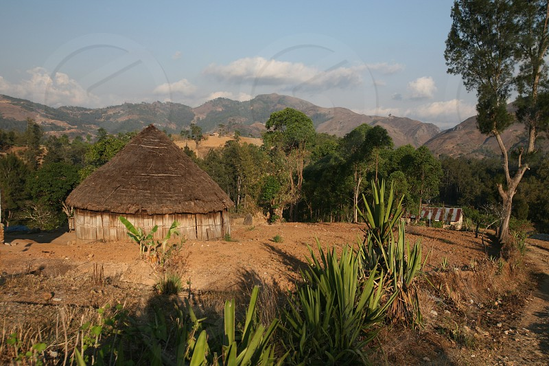 The Landscape with traditioal houses at the village of Moubisse in the south of East Timor in southeastasia. photo
