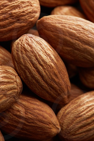 Background from fresh dry peeled almond nuts close up photo