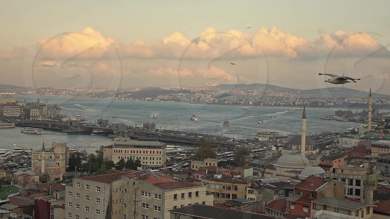 Beautiful wider seascape view to Bosphorus strait with marine traffic and Galata Bridge on a background cloudy sky sunny weather. Slow motion Full HD video 240fps 1080p. photo