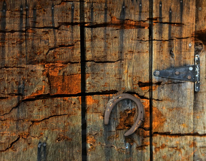 Old cracked wooden door with an old horseshoe. photo