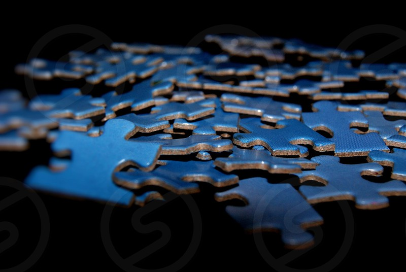 Blue Puzzle Pieces for Autism Awareness Month photo