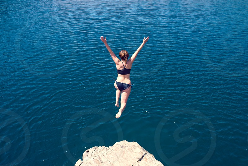 outdoors lake jump fun weekend summer photo
