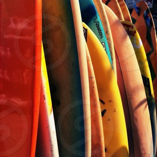 Outdoor day square colour colourful bright vibrant vivid surf surf boards boards California USA Pismo Beach photo