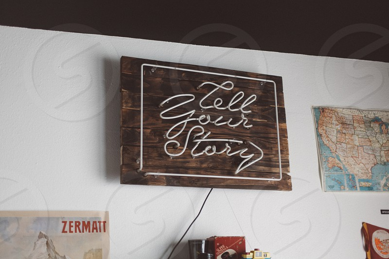 brown tell your story wooden wall decor photo