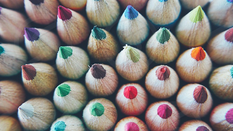 blue green red teal and brown colored pencils photo