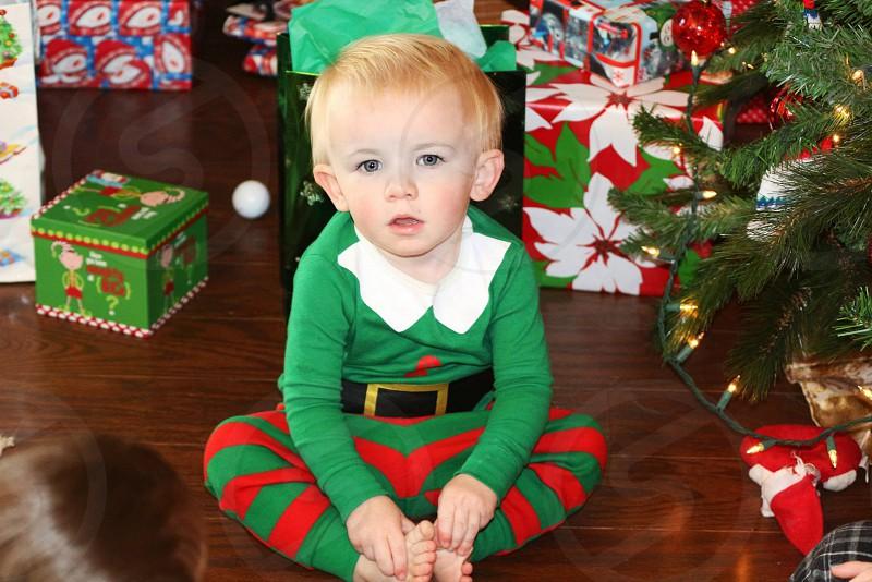 Elf christmas boy blond blue eyes photo