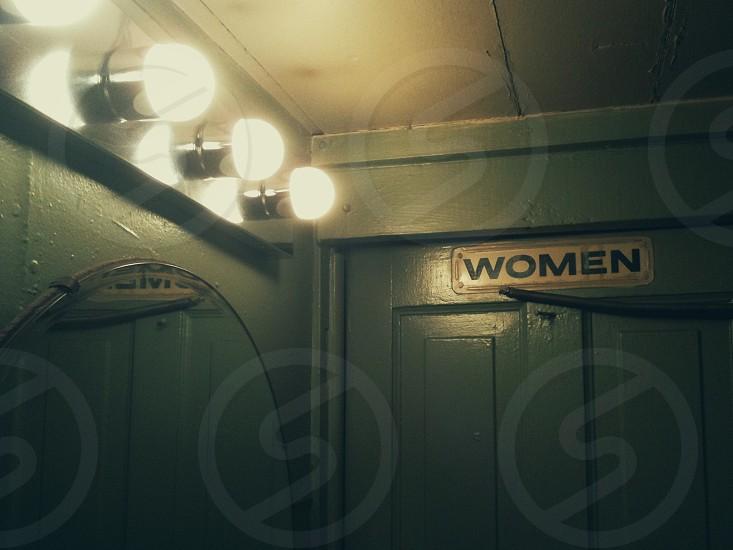 women's restroom door photo