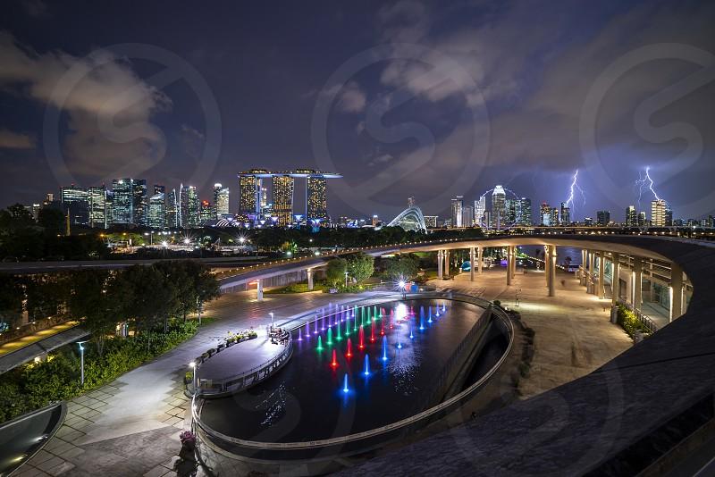 Night Singapore cityscape city skyline urban photo