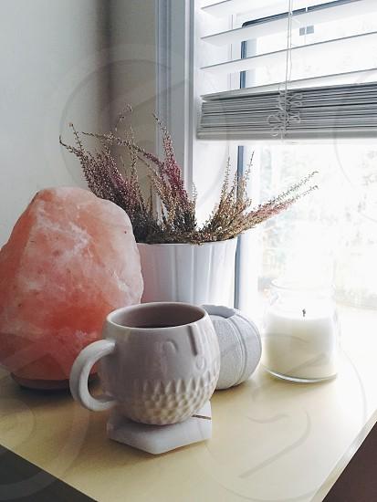 Morning coffee mornings salt lamp Himalayan salt pink coffee mug west elm heather plant candle cup weekends photo