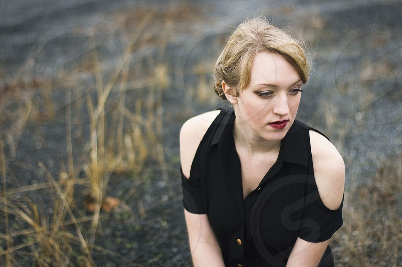 Blonde model outdoors fashion photo