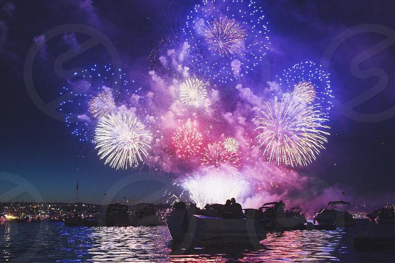 4th 4th of July fireworks boating lake celebration independence photo