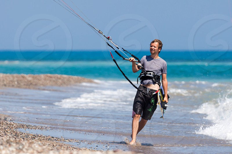 Learning to kite surf in Avidmou Cyprus photo