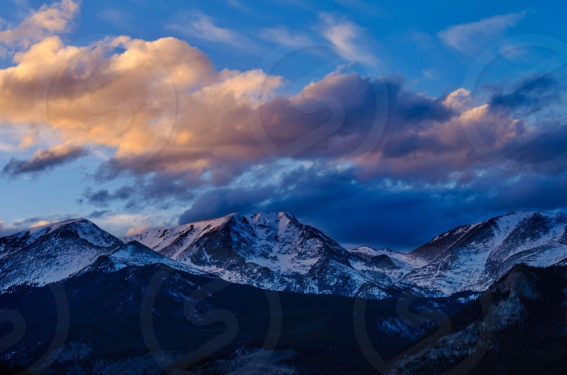 Sunset over the Mummy Range - Rocky Mountain National Park Colorado  photo