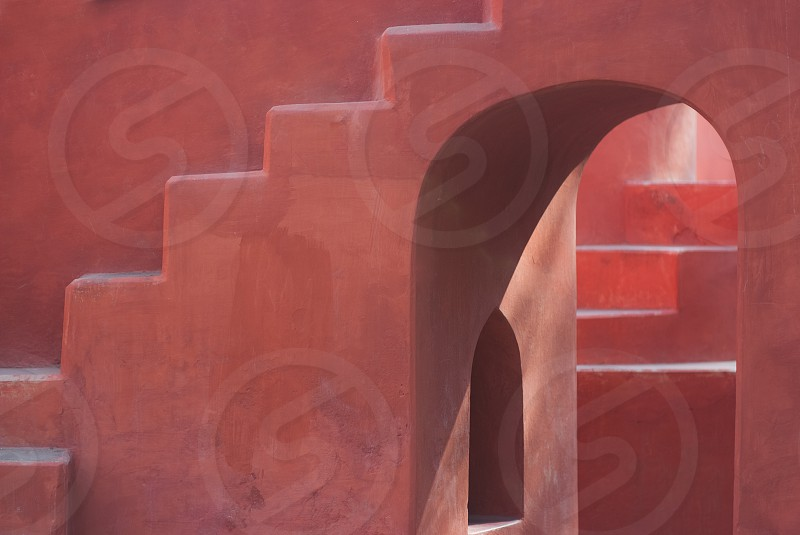 Jantar Manter window arch steps light pink orange red puzzle pathway solid shades shadows confidence progress artistic painting painterly warmth completion India Delhi eastern mystical maze  photo