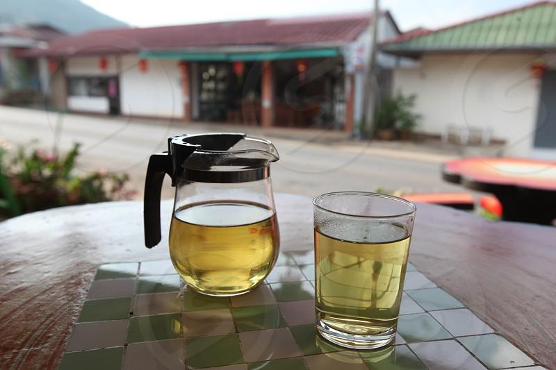 tea in Teashop at the tea plantation at the town of Mae Salong north of the city Chiang Rai in North Thailand. photo