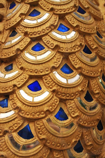 Golden Dragon Scales in the temple Thailand photo