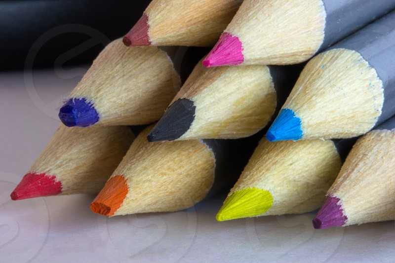 Color Pancils Stacked Colorful Creative Artist Supply photo
