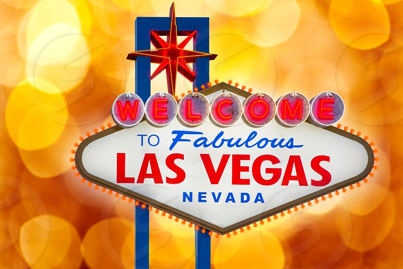 Welcome to Fabulous Las Vegas sign blurred highlights bokeh Nevada photo mount photo