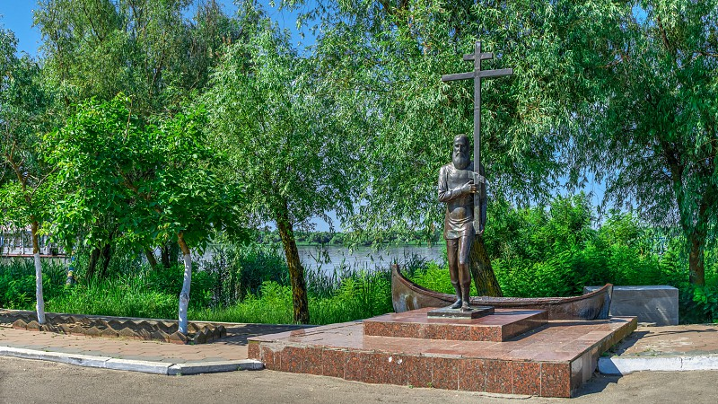 Vilkovo Ukraine - 06.23.2019. Monument to Livovan the first resident of the village of Vilkovo Ukraine. photo