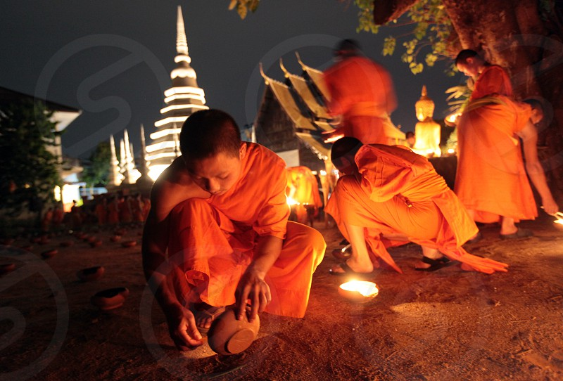 a buddhism ceremony at the Wat Phan Tao Tempel in the city of chiang mai in the north of Thailand in Southeastasia.  photo