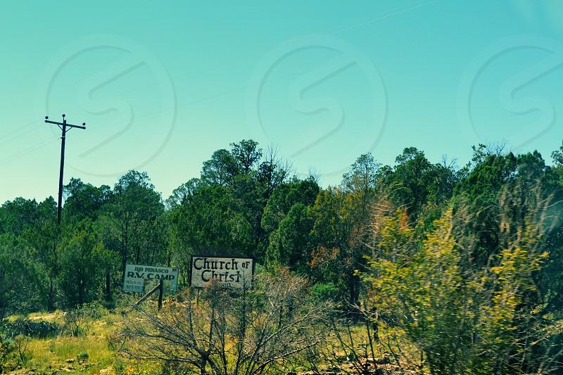 Church Christ Signs Trees Hills USA photo